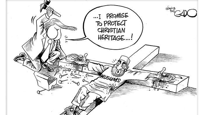Cartoon on Donald Trump and the Muslims (Gado)