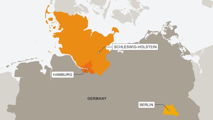 Karte Deutschland, Schleswig-Holstein, Hamburg, Berlin
