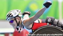 10.09.2016 ***©Kyodo/MAXPPP - 11/09/2016 ; Marieke Vervoort of Belgium poses for a photo after winning the silver medal in the women's 400 meter race for wheelchair athletes at the Rio de Janeiro Paralympics on Sept. 10, 2016. The 37-year-old Vervoort recently made headlines for her remarks that she is considering euthanasia because of her degenerative spinal disease. (Kyodo) ==Kyodo | © picture-alliance/dpa/Kyodo/MAXPPP
