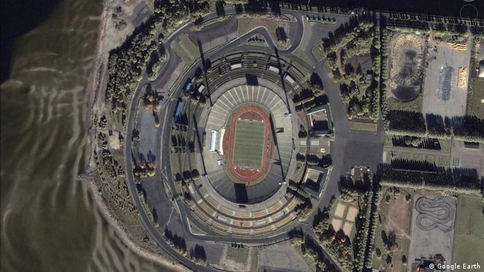 Вид на стадион Кировский из космоса - фото 2000 года