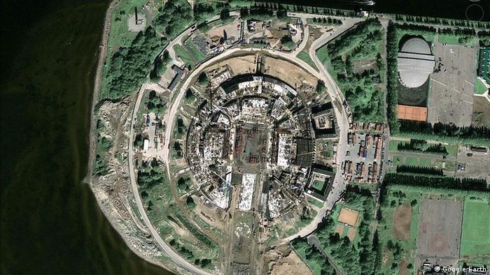 Вид на Зенит-Арену из космоса, 2009 год