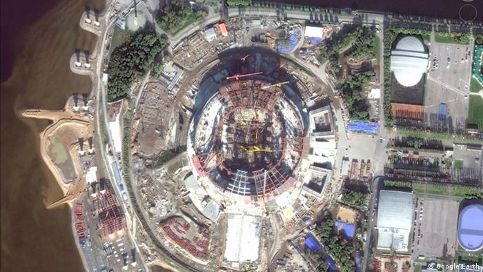 Вид на стадион Зенит-Арена из космоса, 2014 год
