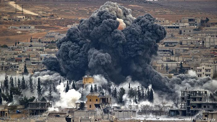 Plumes of smoke over Kobani after an airstrike by the US-led coalition