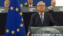 14.09.2016 *** epa05538793 President of the European Commission Jean-Claude Juncker delivers the annual State of The European Union speech in the European Parliament in Strasbourg, France, 14 September 2016. EPA/PATRICK SEEGER +++(c) dpa - Bildfunk+++   © picture-alliance/dpa/P. Seeger
