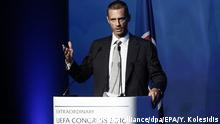 14.09.2016 epa05538880 President of the Football Association of Slovenia and candidate for the UEFA presidency Aleksander Ceferin speaks before the elections of the new UEFA President, at 12th Extraordinary UEFA Congress in Athens, Greece, 14 September 2016. Michel Platini has been given permission by Fifa's ethics committee to address the Uefa congress in Athens despite his four-year ban from all football-related activity. EPA/YANNIS KOLESIDIS +++(c) dpa - Bildfunk+++ Copyright: picture alliance/dpa/EPA/Y. Kolesidis