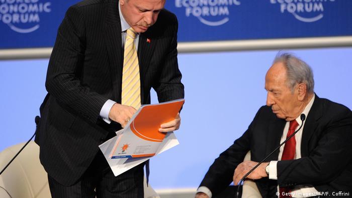 Davos em 2009, Erdogan e Peres