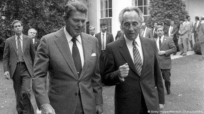 USA Israel Präsident Ronald Reagan & Premierminister Schimon Peres