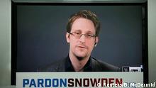 14 September 2016 Edward Snowden speaks via video link during a news conference in New York City, U.S. September 14, 2016. REUTERS/Brendan McDermid +++(c) dpa - Bildfunk+++ (c) Reuters/B. McDermid
