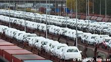 09.11.2015 + Volkswagen cars are loaded on trains at the truck gate Fallersleben at the Volkswagen headquarters in Wolfsburg, Germany, November 9, 2015.German industrial production posted its steepest fall in 23 months in July, data showed on on September 7, 2016, in a further sign that Europe's largest economy is set for a slowdown. Copyright: Reuters/F. Bimmer