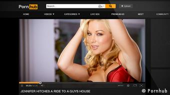 Picture of lascivious blond woman on Pornhub website