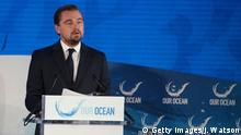 Actor and environmental activist Leonardo DiCaprio speaks during the Our Ocean Conference at the US State Department in Washington, DC, September 15, 2016. President Barack Obama announced the creation of a new marine reserve on Thursday as Washington hosted a major world summit on protecting the planet's oceans. / AFP / JIM WATSON (Photo credit should read JIM WATSON/AFP/Getty Images) © Getty Images/J. Watson