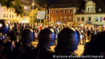 Стихийный митинг в Бауцене 15 сентября