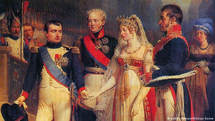 Наполеон, Александр I, королева Пруссии Луиза, Фридрих Вильгельм III в Тильзите. Автор картины - Николя Госс (1787-1878)