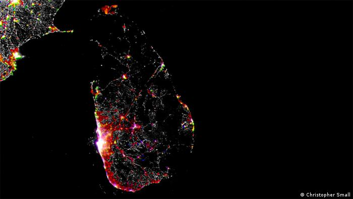 Sri Lanka lights at night as seen from a NASA satellite (Christopher Small)