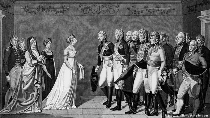 Встреча королевы Луизы и царя Александра I. Гравюра работы Иоганна Фридриха Болта (1769-1836)