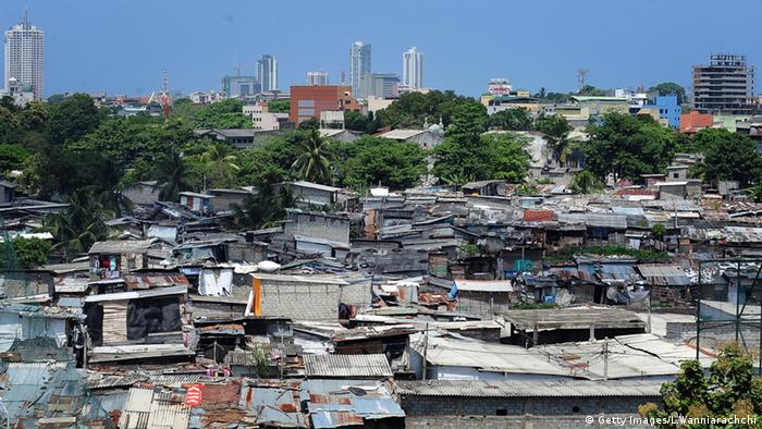 A view of the Sri Lankan capital of Colombo from the slums