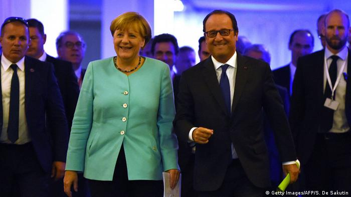 French President Francois Hollande and German Chancellor Angela Merkel