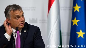 Hungarian Prime Minister Viktor Orban attends a press conference Copyright: Getty Images/AFP/V. Simicek