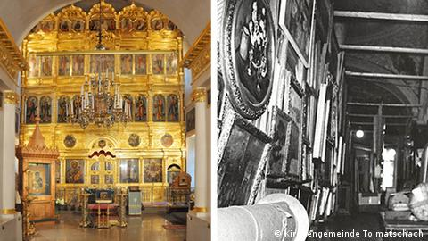 Two images of the Museum Church of St. Nicholas in Tolmachy