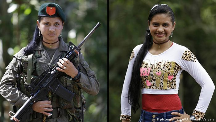 A former FARC fighter shown in uniform holding a rifle and in civilian clothes