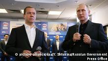 Russland Parlamentswahlen Putin und Medwedew Wahlparty