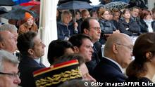 Former French President Nicolas Sarkozy (2ndL), French Prime Minister Manuel Valls (C-bottom) and French President Francois Hollande (C) attend a France's national tribute to victims of terrorism at the Hotel des Invalides in Paris on September 19, 2016 Copyright: Getty Images/AFP/M. Euler