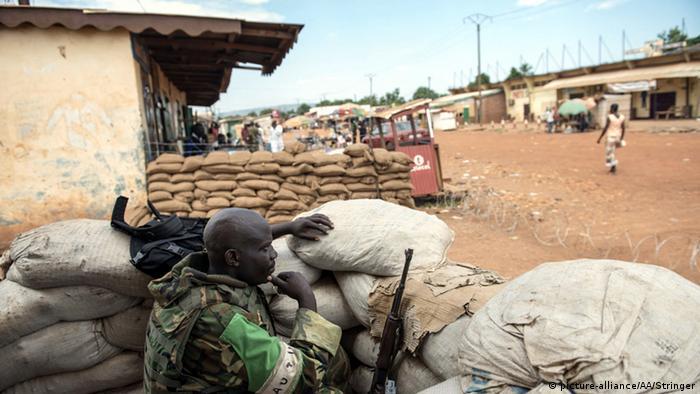 Soldier in street bunker in Bangui in March 2014