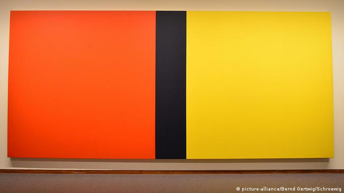 Painting by Barnett Newman, 'Who's Afraid of Red, Yellow and Blue IV'. Copyright: picture-alliance/Bernd Oertwig/Schroewig