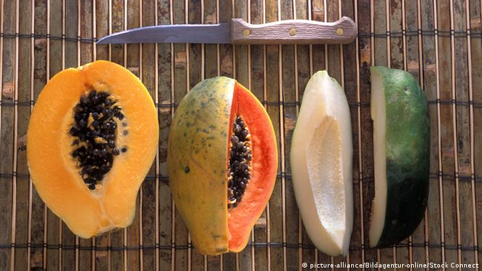 A row of cut papaya