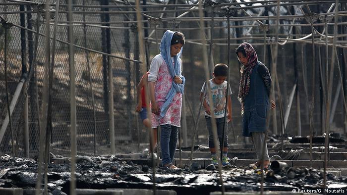Griechenland Brand im Flüchtlingslager Moria auf Lesbos