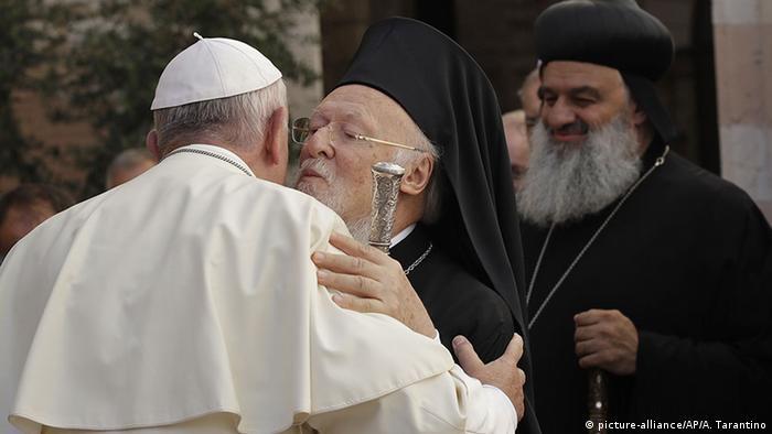 Italien Assisi Heiliger Konvent Papst Franziskus Patriarch Bartholomeos