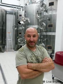 Corsica wine maker Bernard Renucci in his cellar (Photo: Lisa Bryant)