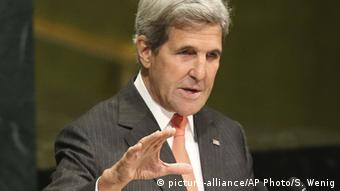 United States Secretary of State John Kerry speaks during a ceremony to mark more signatories to the Paris climate accords at United Nations headquarters in New York