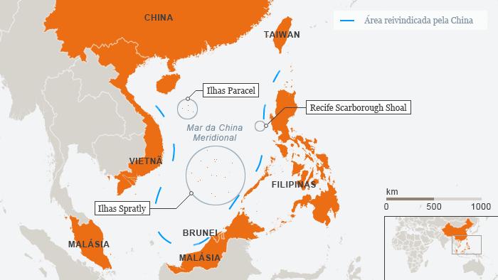 Karte Südchinesisches Meer Besitzanspruch China Portugiesisch