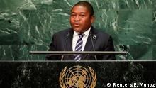 21.09.2016 *** Mozambique President Filipe Jacinto Nyusi addresses the United Nations General Assembly in the Manhattan borough of New York, U.S. September 21, 2016. REUTERS/Eduardo Munoz © Reuters/E. Munoz
