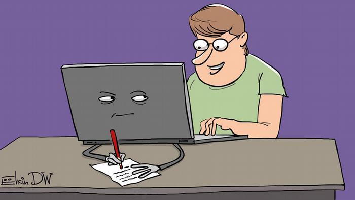 Карикатура: компьютер записывает на бумажку то, что печатает пользователь