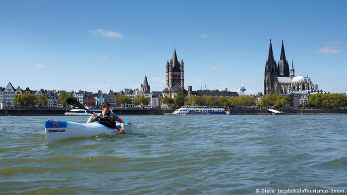 A canoe on the Rhine River in front of the cathedral in Cologne, Germany (Dieter Jacobi/KölnTourismus GmbH)