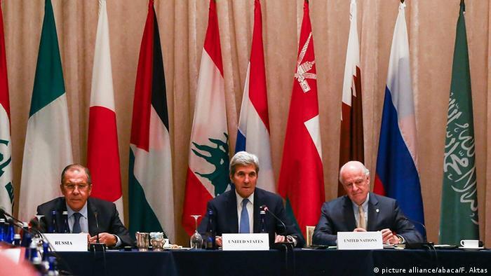 US-Außenminister John Kerry Staffan de Mistura und Sergey Lavrov