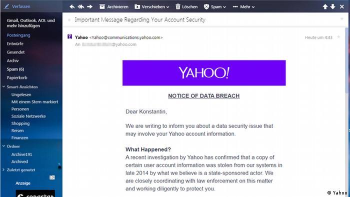 Screenshot Yahoo Mail Warnung Hackerangriff