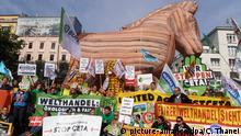 Slowakei Protesten vor dem EU-Handelsministerrat in Bratislawa