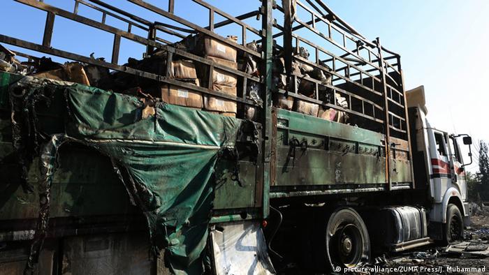 Уничтоженный грузовик гуманитарной колонны ООН