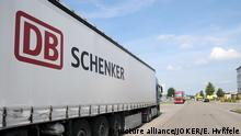 A truck with a DB Schenker logo pictured in Bavaria