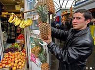 Azerbaijani trader at a Moscow market