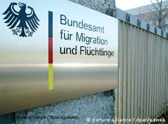 The sign of the GermanOffice for Migration and Refugees