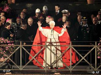 Pope Benedict XVI waved like any pop star would from the Temple of Venus in Rome in April