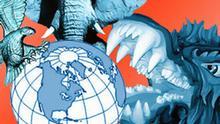 Symbolbild Grafik Weltmacht Indien USA China Adler, Elefant, Drache
