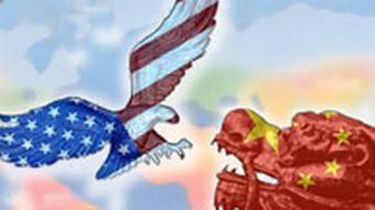Symbolbild Grafik Weltmacht USA China Adler, Drache
