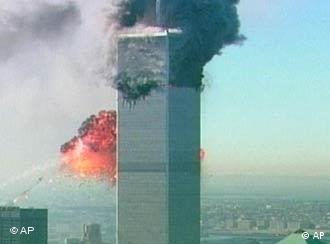 The New York twin towers, burning