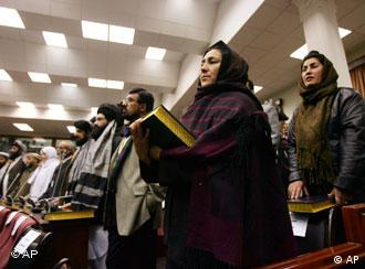 Members of the Afghan parliament are sworn in on December 19, 2005