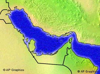 Map showing the Straits of Hormuz, which links the Gulf and Arabic Sea.